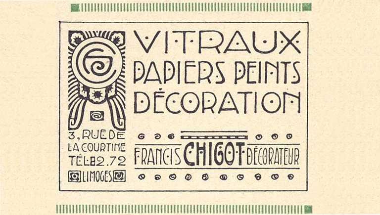 Vitraux et papiers peints Francis Chigot, publicité du programme Cirque théâtre de Limoges, 1929 - Bfm Limoges.