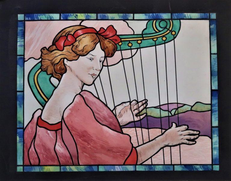 Avis de recherche vitrail de Francis Chigot 1910 : La Musique