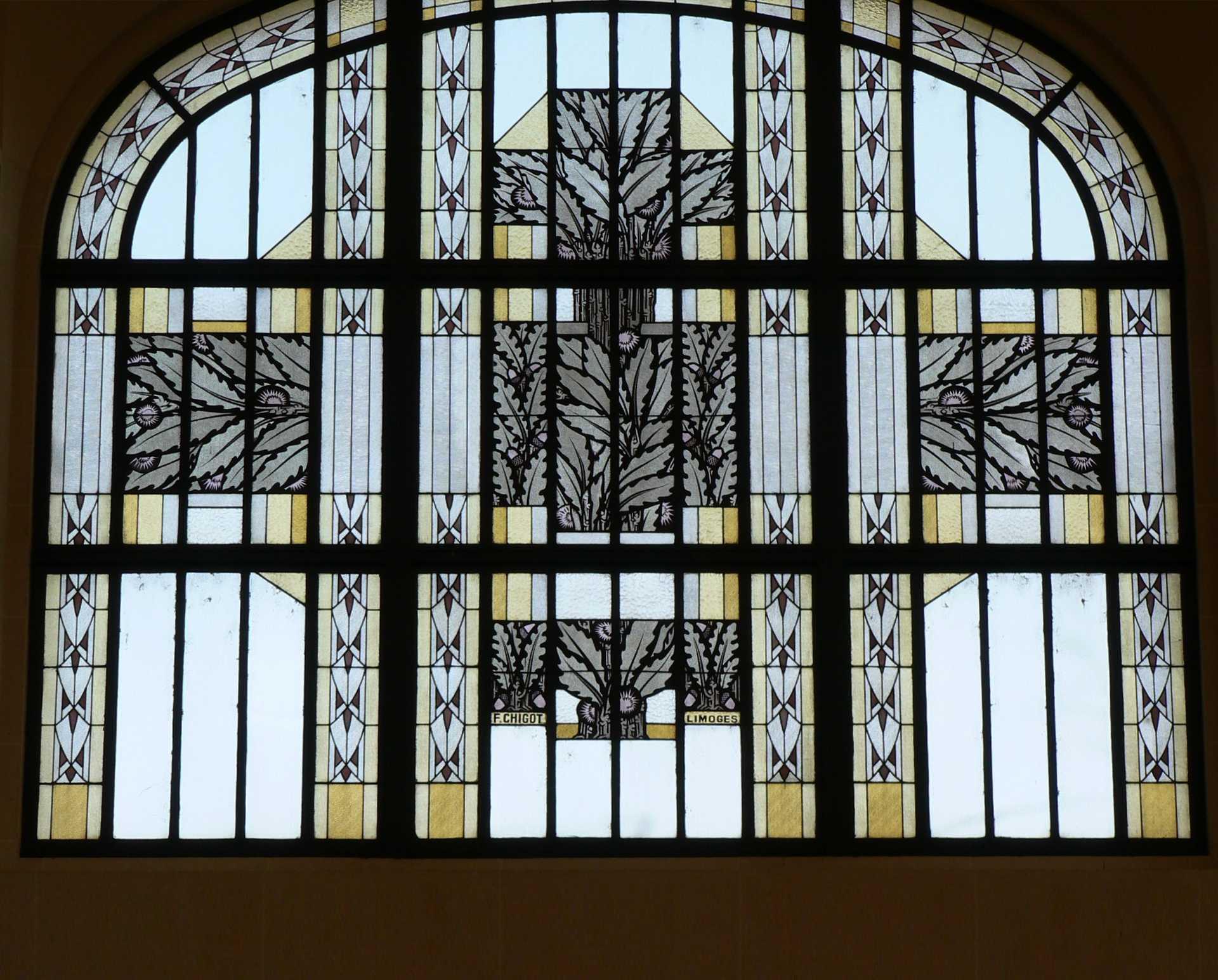 Verrières du Hall de la gare des Bénédictins, Limoges, Francis Chigot, 1927-1928